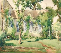 Blue Shuttered House by Harry De Maine (1880-1952)