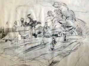 Figure in Field, Sketch - Pitt by Sarah Blakeslee