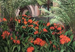 Kaffir Lilies, Ferns, and Arches at Balboa Park, San Diego by Elsie Dinsmore Popkin (1937-2005)