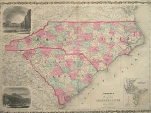 Map of North & South Carolina by Johnson & Browning