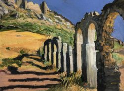 The Kamares at Castello Rossi Above Karistos, Late Afternoon, Greece by Elsie Dinsmore Popkin (1937-2005)