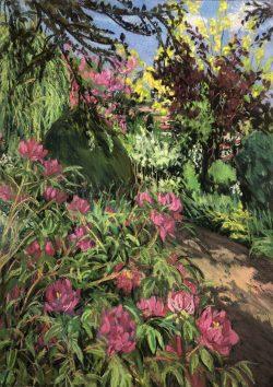 Peonies and Redbud at La Bonne Mansion, Lyon, France by Elsie Dinsmore Popkin (1937-2005)