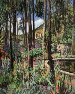 Cusin Garden with Imbabura and Church, Ecuador by Elsie Dinsmore Popkin (1937-2005)