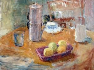 Still Life with Coffee Pot and Lemons (1985) by Sarah Blakeslee