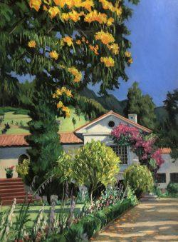 Hacienda Cusin with Bougainvillea II, Ecuador by Elsie Dinsmore Popkin (1937-2005)