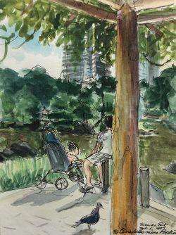 Sumida Park, Tokyo by Elsie Dinsmore Popkin (1937-2005)