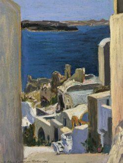 Stairway at Ia, Santorini, Greece by Elsie Dinsmore Popkin (1937-2005)
