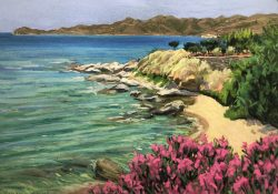 Oleander and the Paxamadi at Karistos, Evvia, Greece by Elsie Dinsmore Popkin (1937-2005)