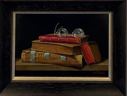 4 Books and Silver Glasses by Bert Beirne