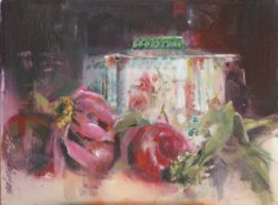 Japan Tin with Plums by Linda Hutchinson