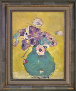 Anemones in Green Vase on a Yellow Background by Wladimir de (Wlodzimierz)  Terlikowski
