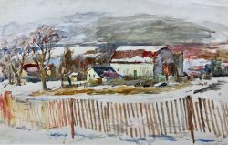 Snow Fence and Barn by Sarah Blakeslee