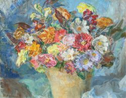 Bouquet with Blue Background by Blakeslee, Sarah (1912-2005)