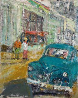 Blue Car in Havana by Ana Guzman