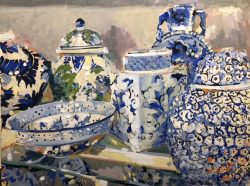 Blue and White Pottery by Laura Lacambra Shubert