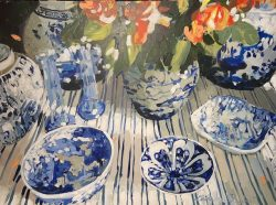 Chinoiserie on Blue Stripes by acrylic and oil on canvas