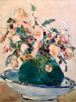 Bouquet dans Vase Vert dans Bol by Wladimir de Terlikowski