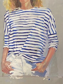 Blue Striped Shirt by acrylic and oil on canvas