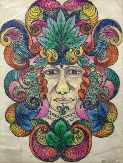 Untitled (Face with Floral Headdress) by Minnie Evans (1892-1987)