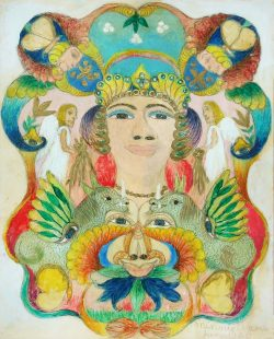 Central Face with Angels and Creatures by Evans, Minnie (1892-1987)