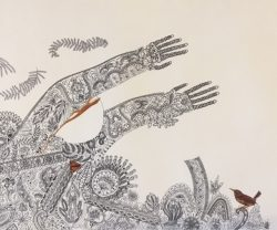 Lace Girl Series, Girl with Brown Lizard and Bird by Robin Hanes