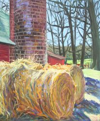 Haybales and Silo at Children's Home by Elsie Dinsmore Popkin (1937-2005)
