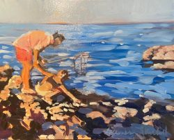 Father Daughter Beach Outing by acrylic and oil on canvas