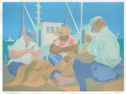 Mending Nets: Sunny Day 40/300 by Claude Howell (1915 - 1997)