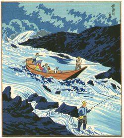 Going Down Hozu River by Tomikichiro Tokuriki (1902-1999)