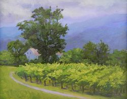 Veritas Vineyard on a Foggy Morning by Julia Lesnichy