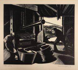 Cider Making (October) by Clare Leighton (1898-1989)