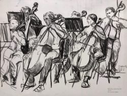 MMF Cellos and Basses by Elsie Dinsmore Popkin (1937-2005)