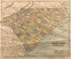 Map of North and South Carolina by E.F. Fisk