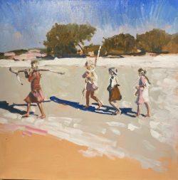 Beach Adventures by acrylic and oil on canvas