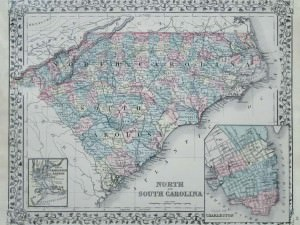 Map of North and South Carolina by Mitchell