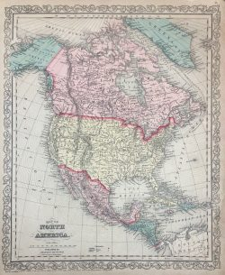 Map of North America by Johnson & Ward