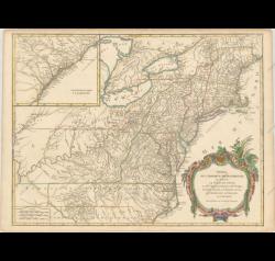 Partie de l'Amerique Septentrionale, qui Comprend le Cours de l'Ohio, la Nlle. Angleterre, la Nlle York, le New Jersey, la Penylvanie, le Maryland la Virginie, la Caroline by Didier Robert de Vaugondy (1723-1786)
