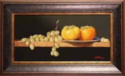 Persimmons and Green Grapes by Bert Beirne