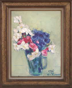 Pitcher with Red, White and Blue Flowers by Wladimir de (Wlodzimierz)  Terlikowski