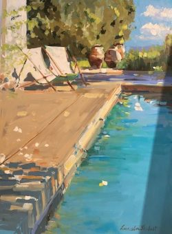 Afternoon Poolside by acrylic and oil on canvas