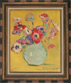 Poppies in a Blue Vase by Wladimir de (Wlodzimierz)  Terlikowski