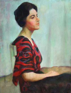 Portrait in Red and Black Silk Dress by Pugh, Mabel (1891-1986)