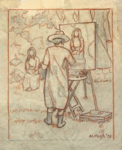 The Artist: Self Portrait Sketch by Mabel Pugh (1891- 1986)