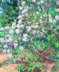 Reynolda Rhododendron Triptych Panel A by Elsie Dinsmore Popkin (1937-2005)