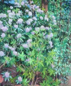 Reynolda Rhododendron Triptych Panel C by Elsie Dinsmore Popkin (1937-2005)