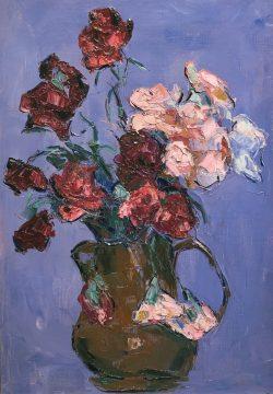 Roses et Oeillets sur Bleu Français by Wladimir de (Wlodzimierz)  Terlikowski
