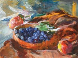 Still Life with Grapes and Apples by Sarah Blakeslee