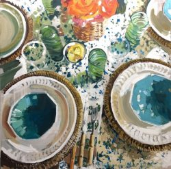 Teal and Orange Table by Laura Lacambra Shubert