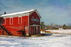 The Old Corner Grocery in the Snow by Watson  Brown