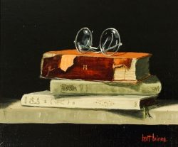Three Books and Glasses by Bert Beirne